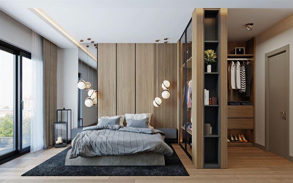 Интерьер спальни, отделанный шпонированными панелями.