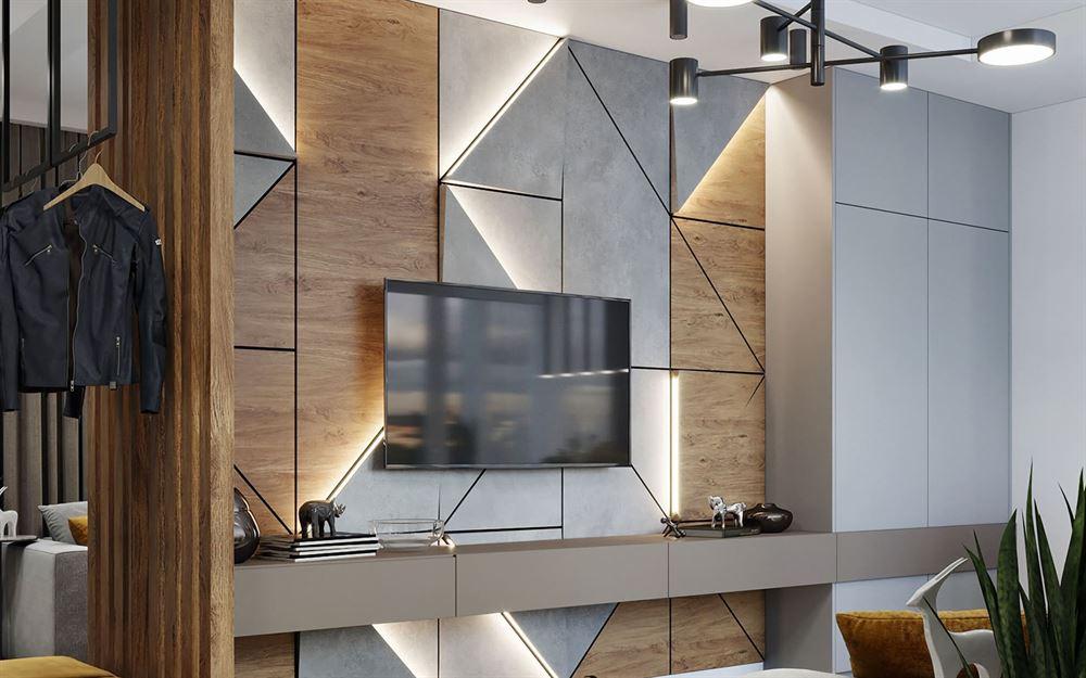 Отделка стены за телевизором деревом
