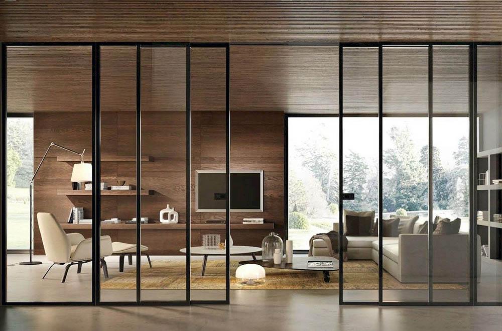Четырехстворчатая раздвижная дверь Loft с закалённым стеклом