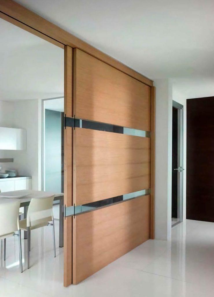 Двустворчатая раздвижная дверь Flat из шпона дуба с лаковым покрытием