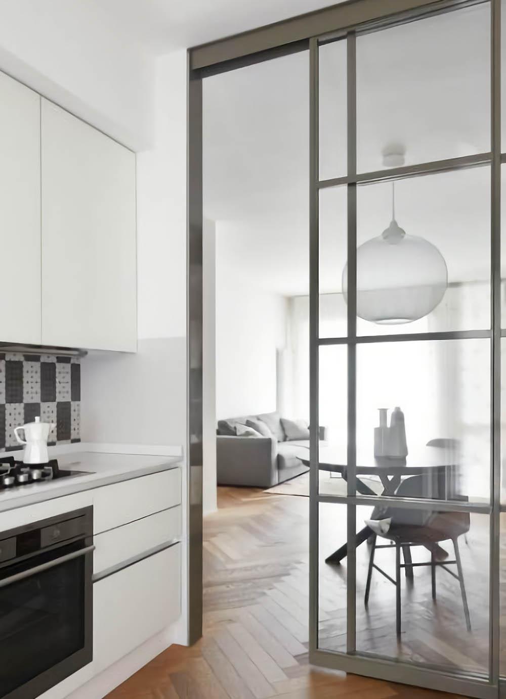 Двустворчатая раздвижная дверь Loft со стеклом