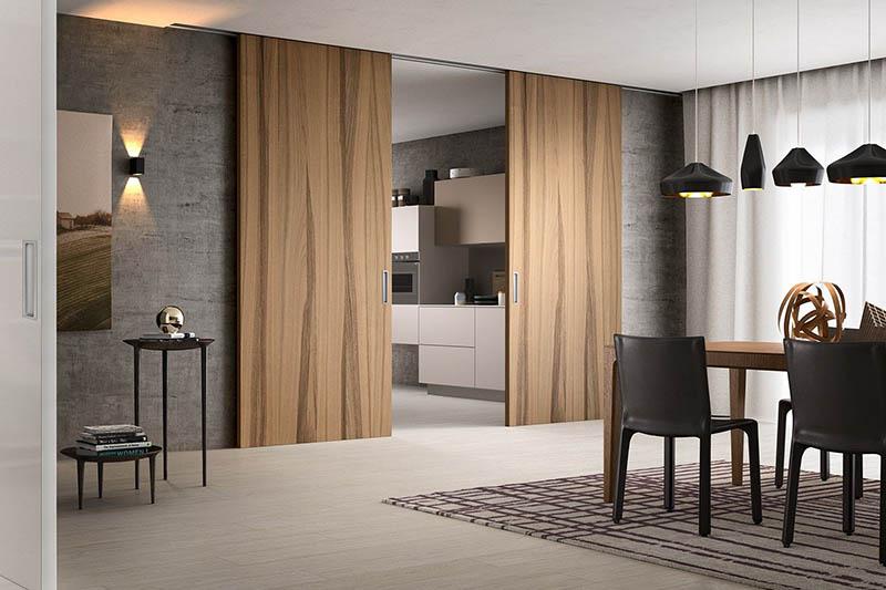 Двустворчатая раздвижная дверь в стиле Flat из шпона ореха