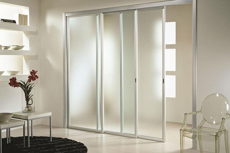 Каскадная межкомнатная дверь Loft со стеклом матовый Сатин