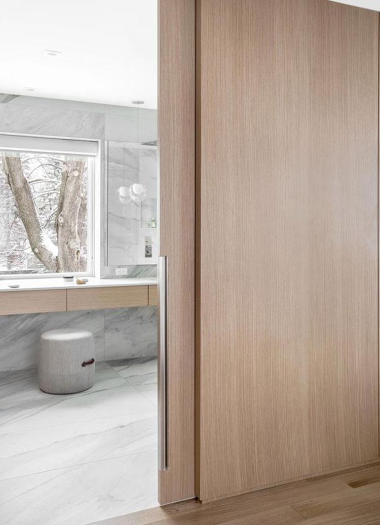 Каскадная раздвижная дверь Flat из шпона Анегри