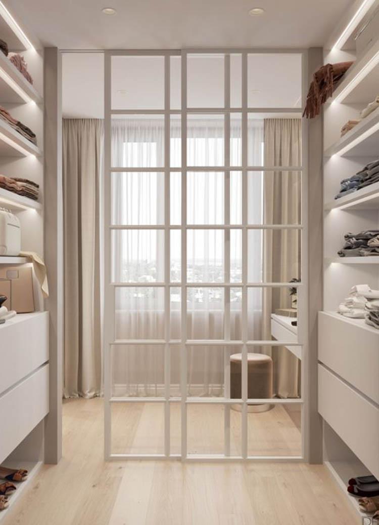 Каскадная раздвижная дверь с прозрачным стеклом