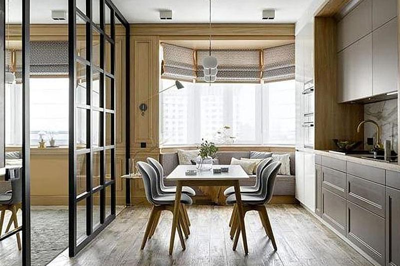Стильная раздвижная дверь для кухни.