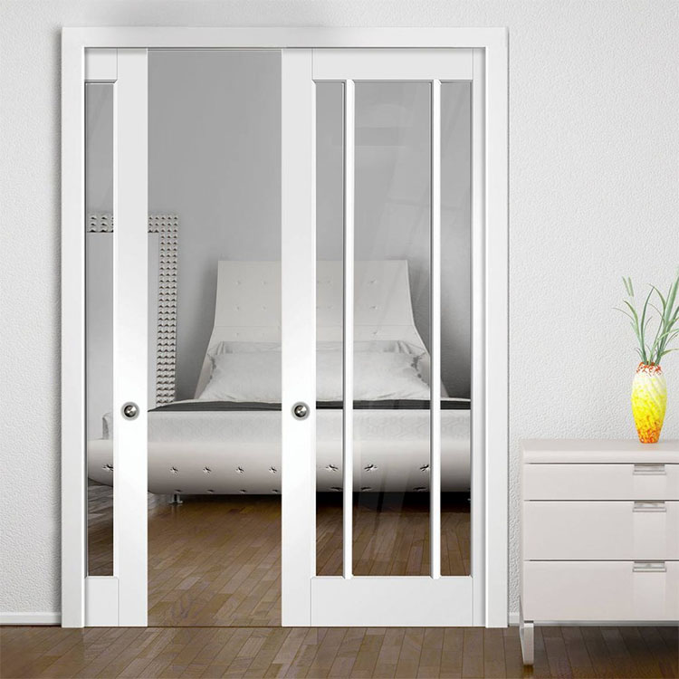 Раздвижная дверь в стену Классика с прозрачным закаленным стеклом