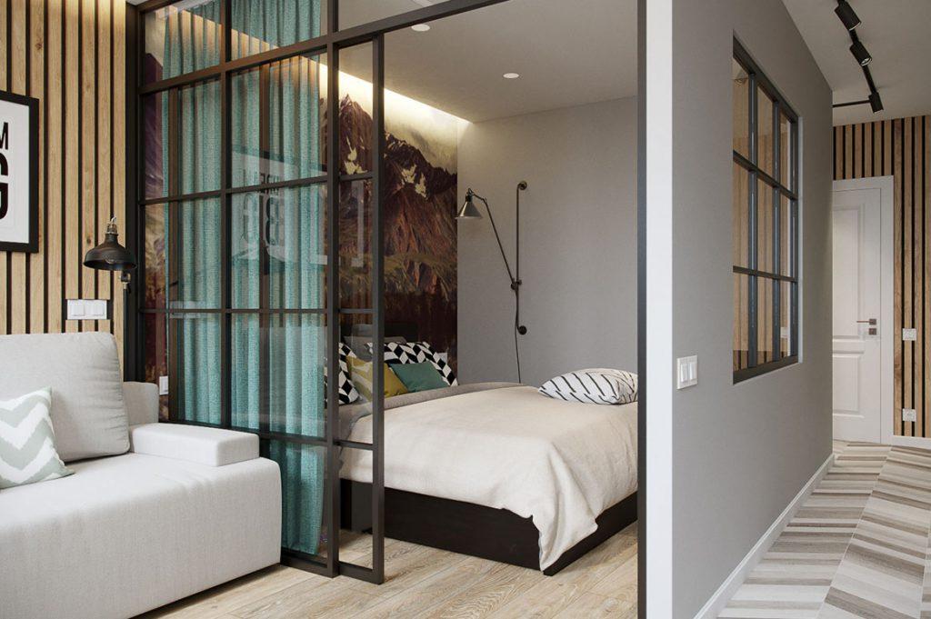 Раздвижная перегородка Loft с эмалированным покрытием и прозрачным закаленным стеклом.