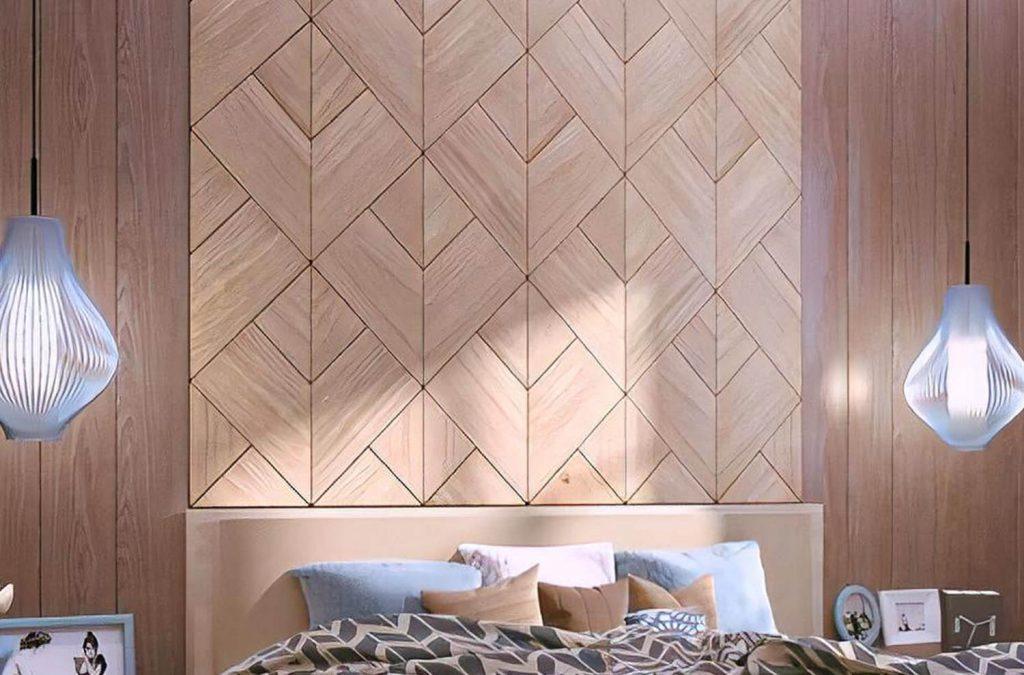 Качественные шпонированные панели для стены в спальне.