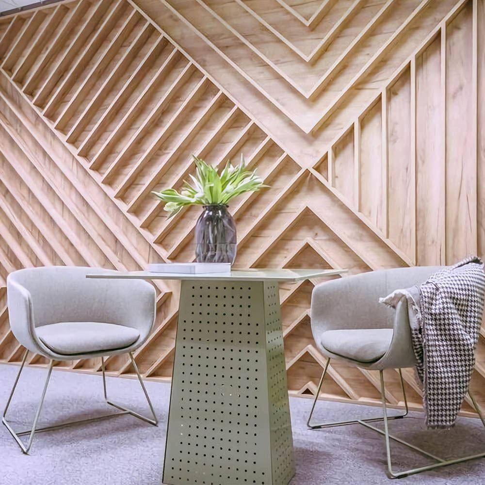 Стеновые панели 3D из натурального шпона Европейского Дуба покрытые лаком