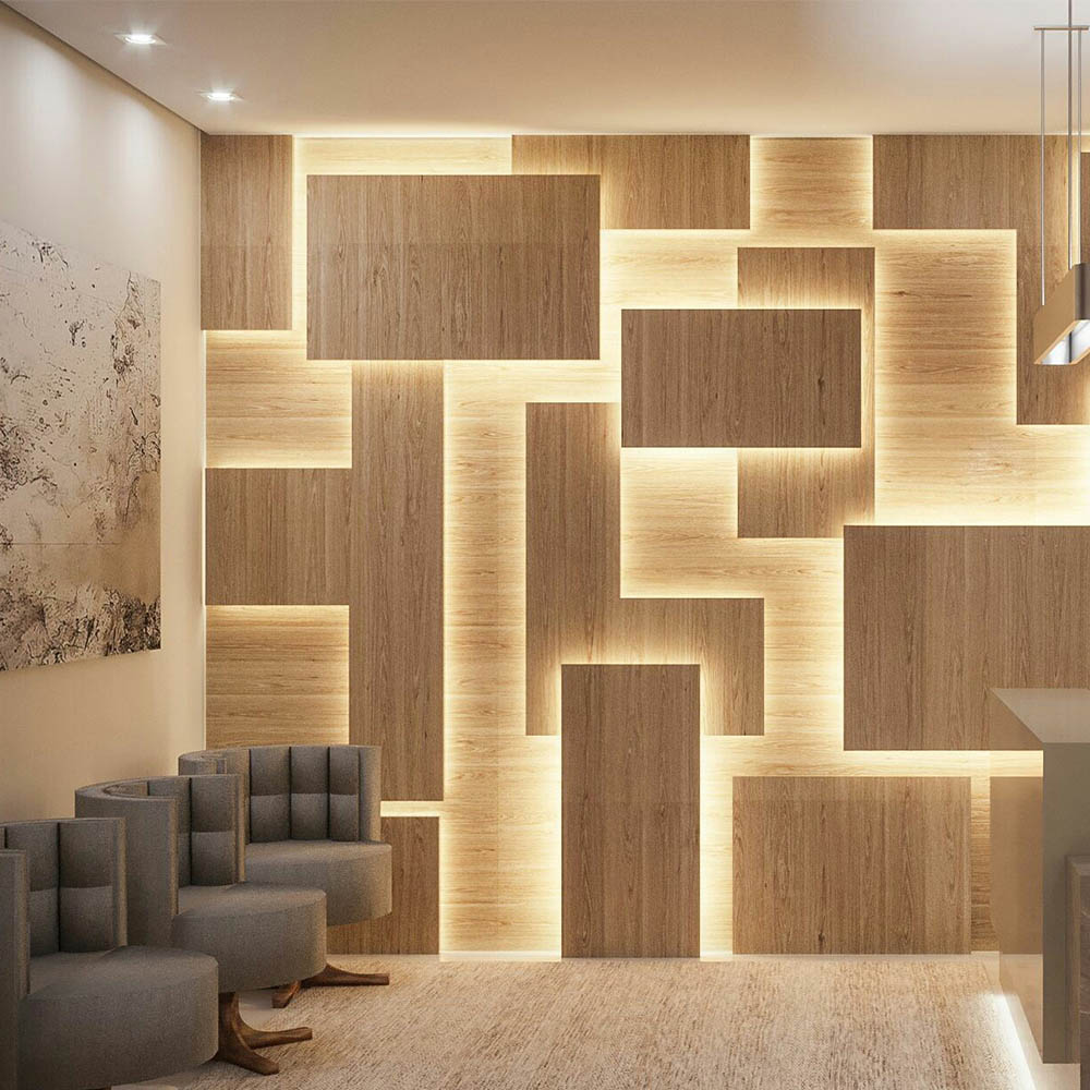 Стеновые панели 3D из шпона Европейского Дуба для гостиной