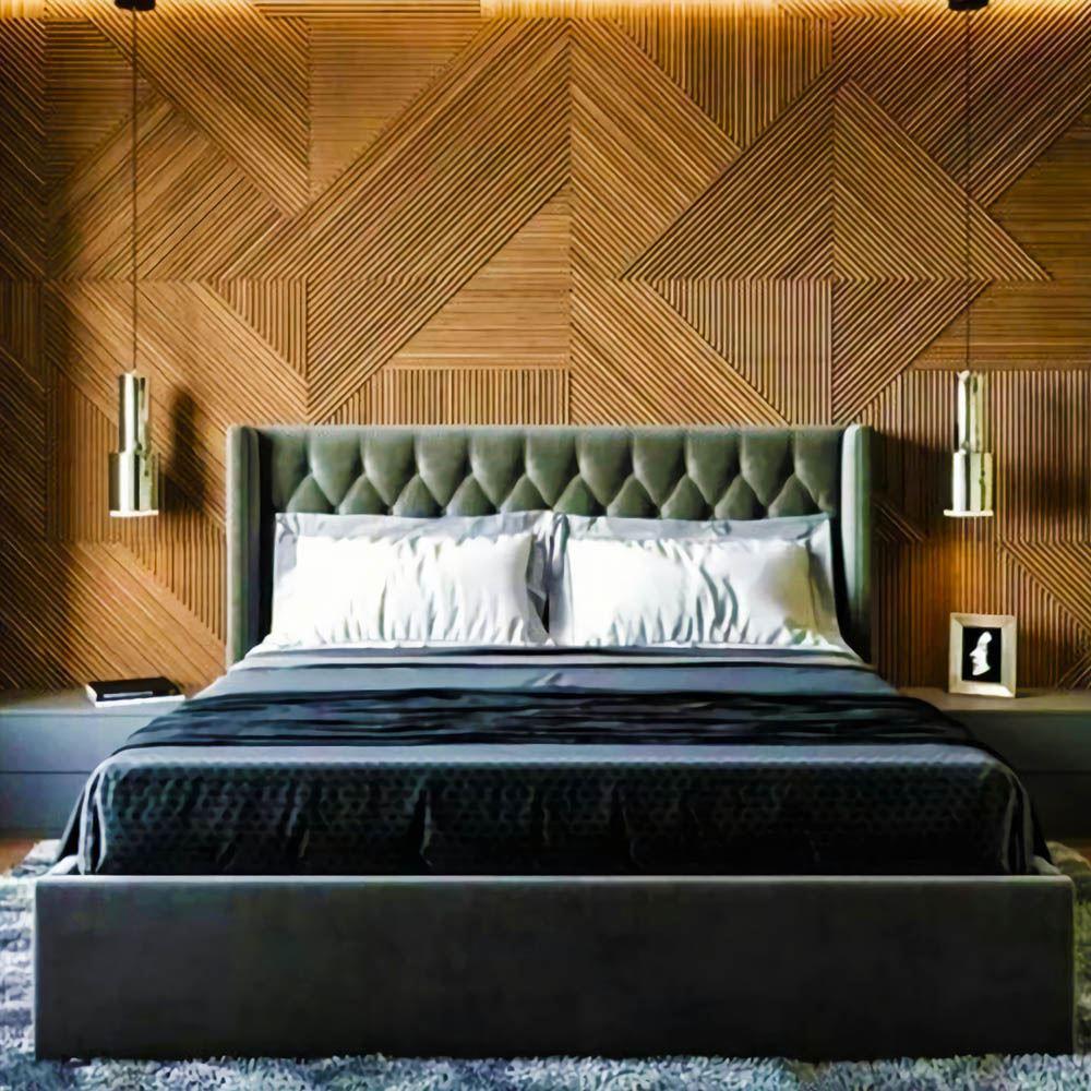 Стеновые панели 3D из шпона Ольхи в спальню