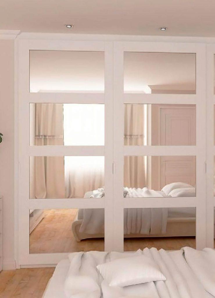 Зеркальная раздвижная перегородка с покрытием эмали и двойным зеркалом