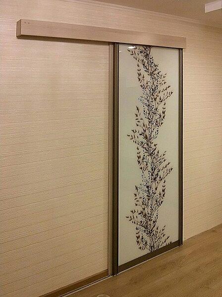 Декоративное оформление раздвижной двери.