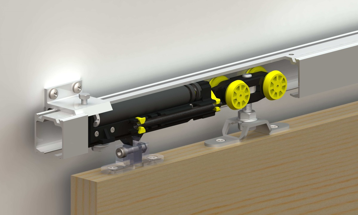 Механизм с доводчиком для раздвижных дверей.