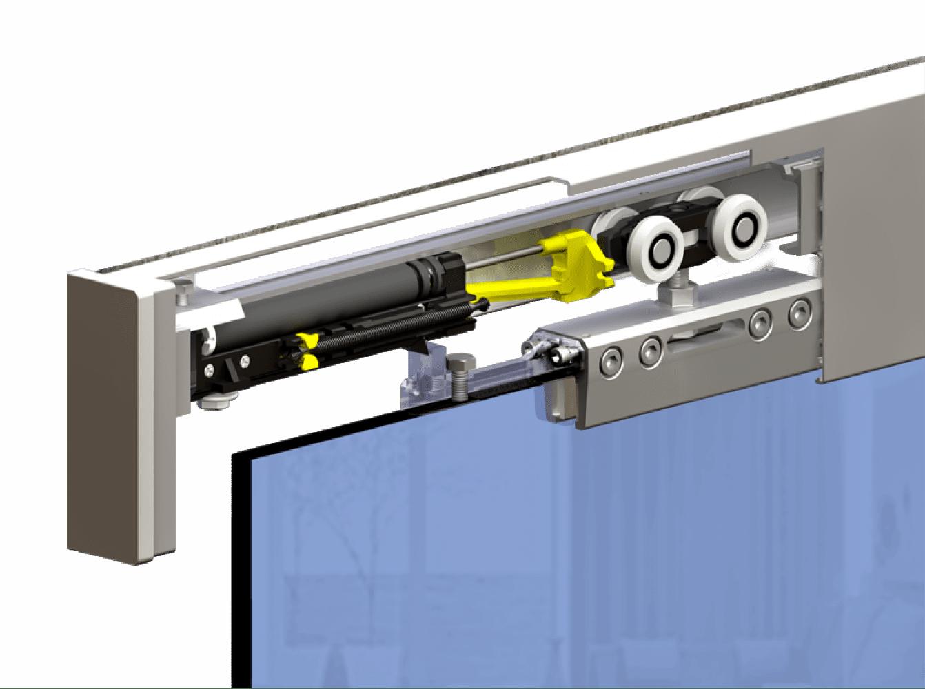 Механизм с синхронизатором для раздвижных дверей.
