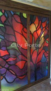 Витражная перегородка из стекла с рисунком